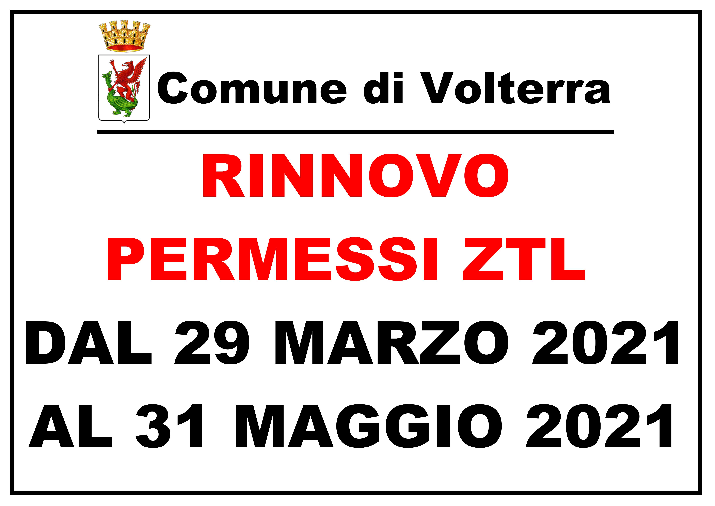 Rinnovo permessi ZTL 2021