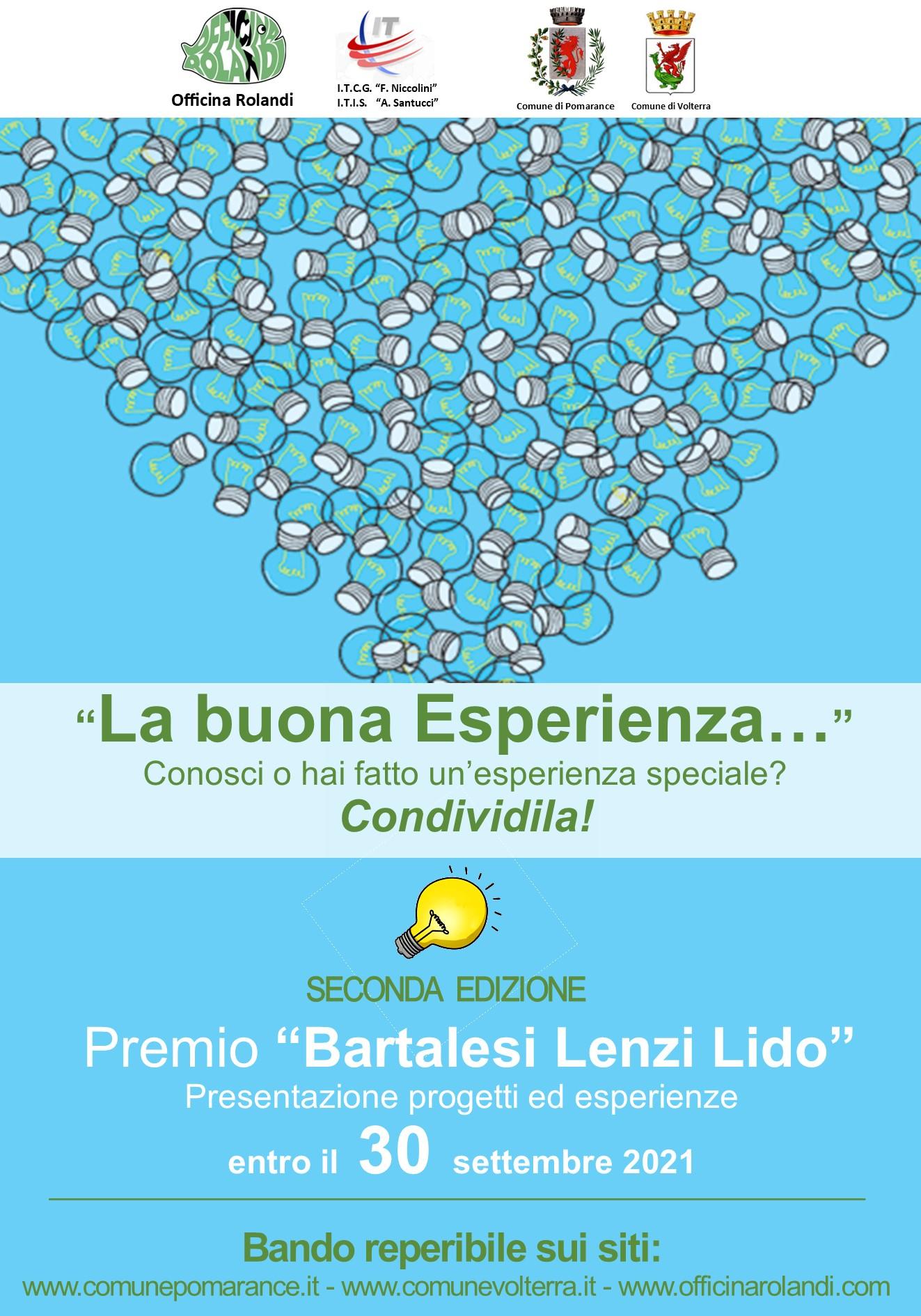 """Progetto """"LA BUONA ESPERIENZA"""" Premio Bartalesi Lenzi Lido- 2021"""