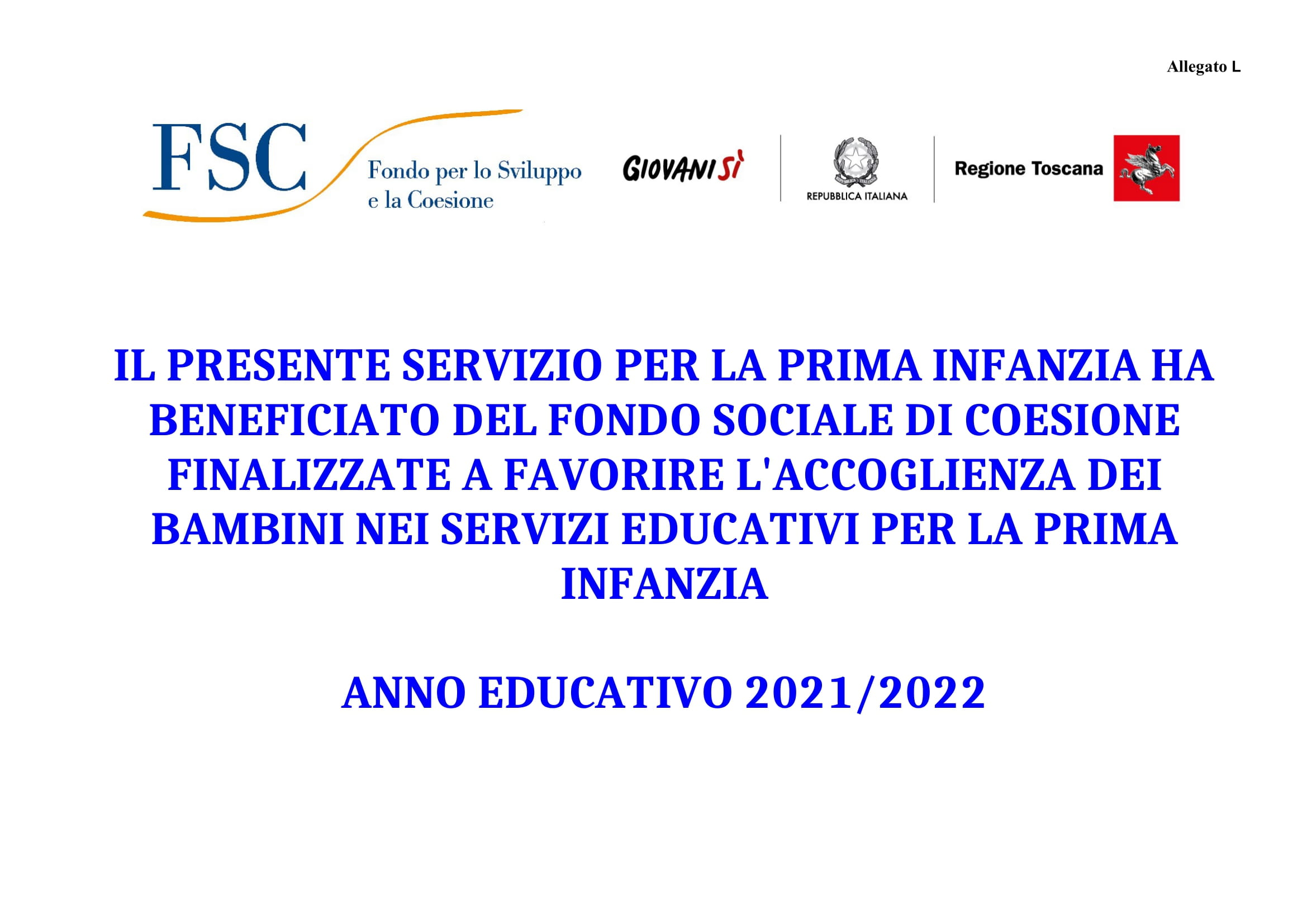 FONDO DI SVILUPPO E COESIONE (FSC) REGIONE TOSCANA - A.E 2021/2022
