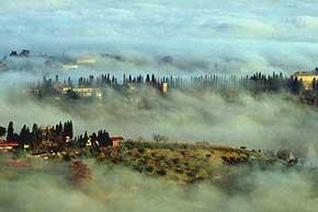 Foto di campagna volterrana sotto la nebbia