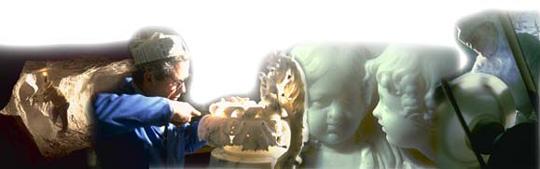 Composizione fotografica di artigianato in alabastro