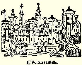 Disegno storico del centro di Volterra