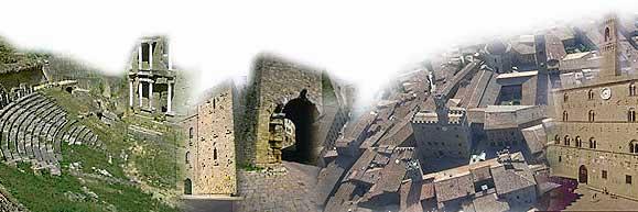 Composizione di più fotografie - da sinistra: Teatro romano, Torre del Porcellino, Porta all'Arco, veduta aerea del centro, Palazzo dei Priori.