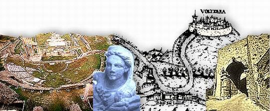 Composizione fotografica. Da sinistra: veduta aerea del teatro romano e delle terme; particolare di urna etrusca (testa femminile); porzione di carta geografica medievale; la Porta all'Arco