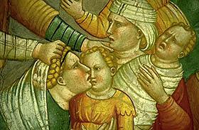 Dipinto del medioevo che raffigura madri con bambini